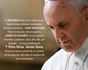 Jesús llora por el mundo que mata y no comprende la paz