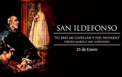 San Ildefonso, capellán y fiel notario de la Virgen